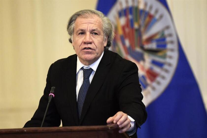 El secretario general de la Organización de Estados Americanos (OEA), Luis Almagro, durante una conferencia de prensa. EFE/Archivo