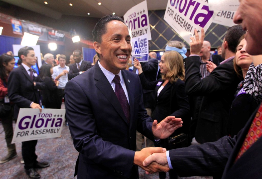 Assemblyman Todd Gloria, a Democrat running for San Diego Mayor in 2020, is pictured during his successful bid for election to the state Assembly in 2016.