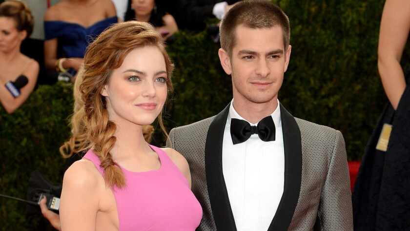 Emma Stone and Andrew Garfield attend a Costume Institute gala at the Metropolitan Museum of Art in New York on May 5, 2014.