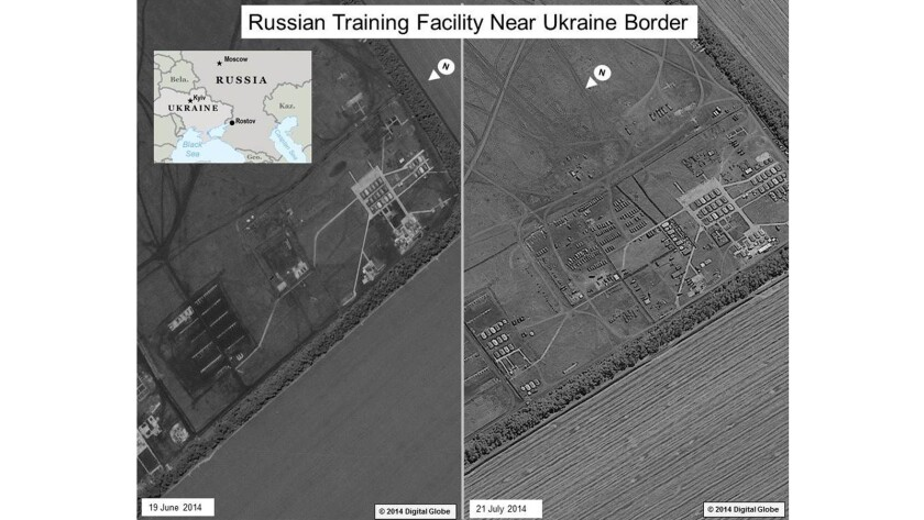 A satellite image provided by U.S. intelligence agencies shows a buildup of Russian military in recent weeks at a base near the southwestern Russian town of Rostov. On the left, the area on June 19; on the right, July 21, showing dozens of rows of additional vehicles.