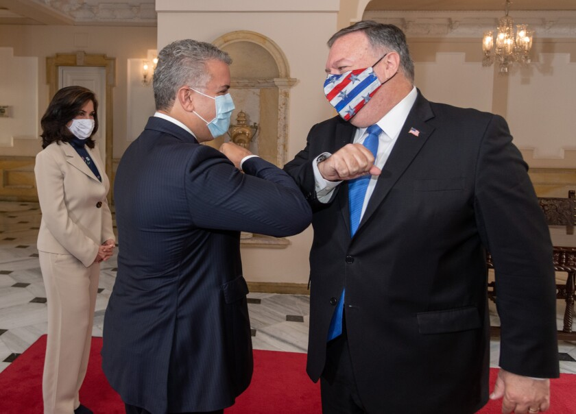 Colombian President Ivan Duque and U.S. Secretary of State Michael R. Pompeo in Bogota.