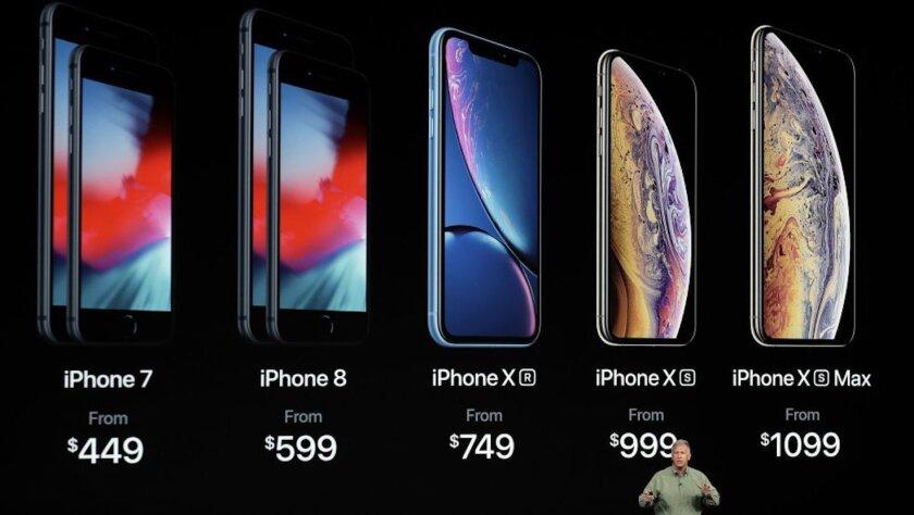 Los precios de toda la gama iPhone en dólares: iPhone 7 desde $449; iPhone 8 desde 599; iPhone XR desde $749, iPhone XS desde $999 y el iPhone XS Max desde $1099.
