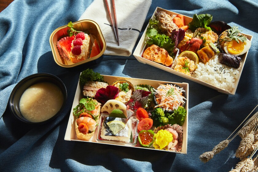 An assortment of bento boxes