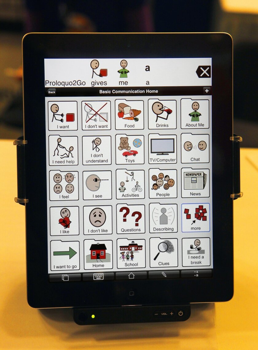The Proloquo2Go symbol-based communication app for the iPad