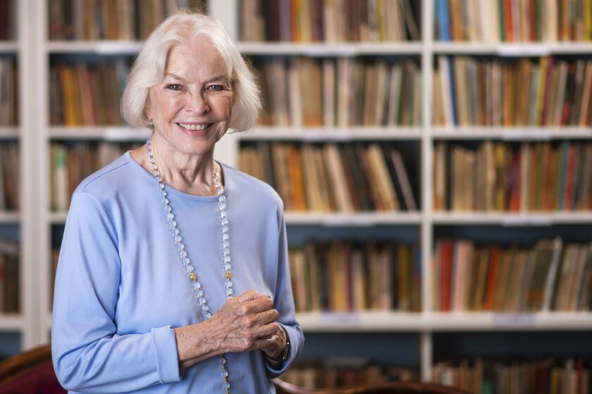 """FILE - Ellen Burstyn poses for a portrait in the Paul Newman Library of the Actors Studio in New York on Sept. 28, 2019. Burstyn stars as a woman forced into a retirement home in the film """"Queen Bees."""" (Photo by Charles Sykes/Invision/AP, File)"""