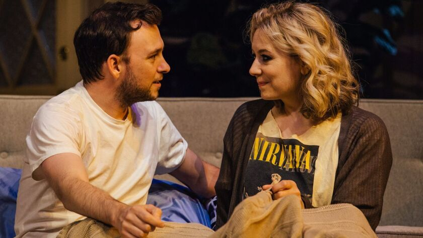 """Nate Corddry and Jennifer Mudge in the world premiere of """"Icebergs"""" at the Geffen Playhouse."""