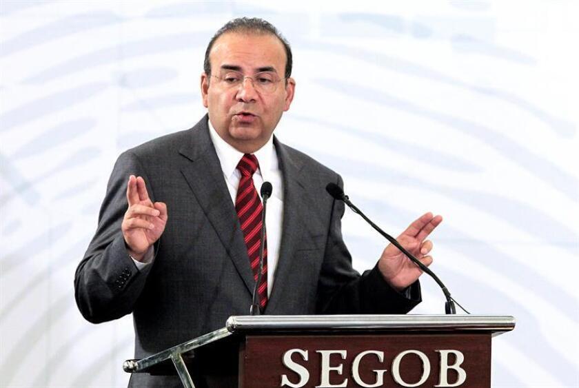 El secretario de Gobernación, Alfonso Navarrete Prida, habla durante la Reunión Nacional del Grupo de Planeación y Análisis Estratégico contra el Secuestro hoy, viernes 5 de octubre de 2018, en Ciudad de México (México). EFE