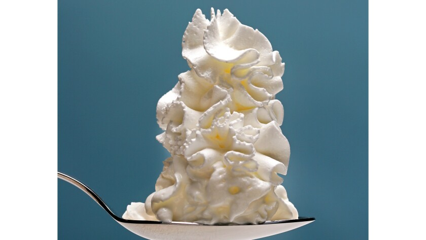Canned whipped cream is kept fluffy with nitrous oxide.