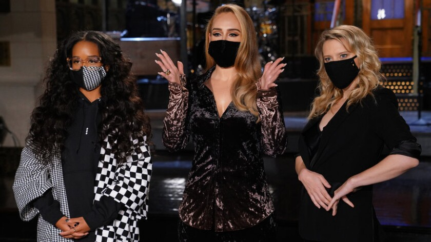 "H.E.R., Adele and Kate McKinnon on NBC's ""Saturday Night Live."""