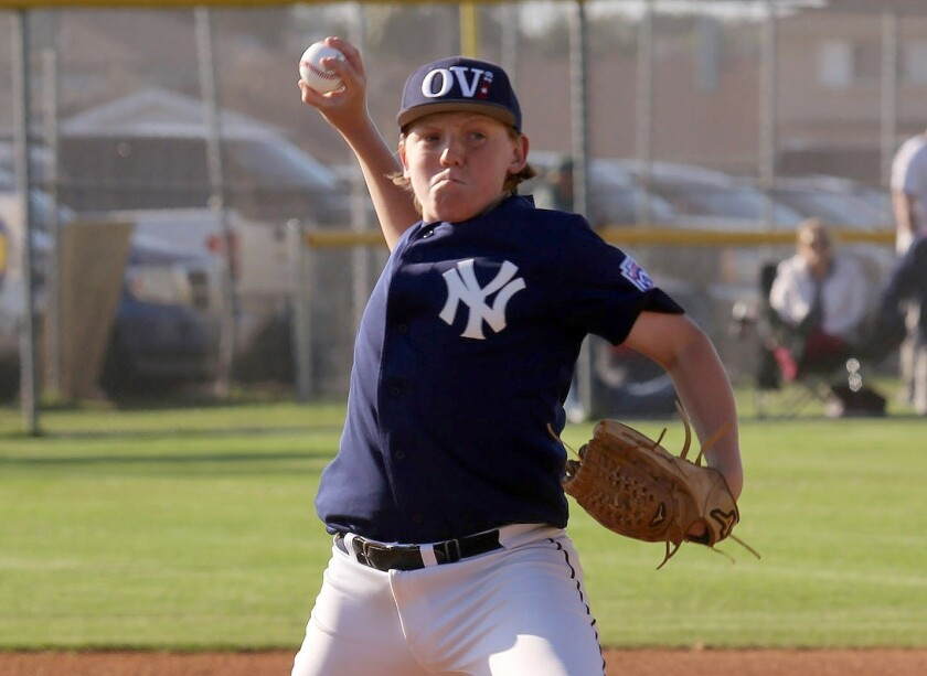 Ocean View Yankees Nick Murrey pitches during the Ocean View Little League No.1 team hosting Seaview