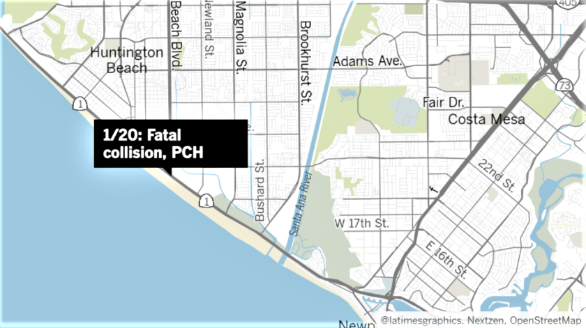 A multiple-vehicle collision Tuesday in Huntington Beach killed two and injured a third.