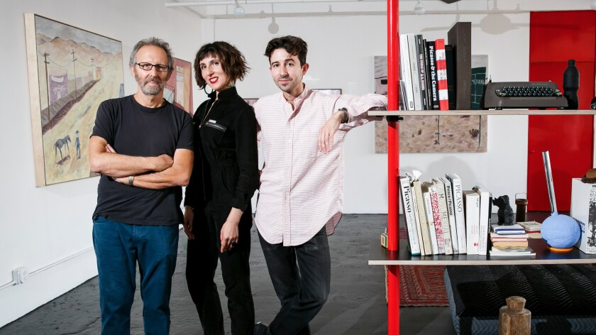 Independent curator Yael Lipschutz, center, at Henry Taylor's with artists (and family members) Jeff and Michael Lipschutz.