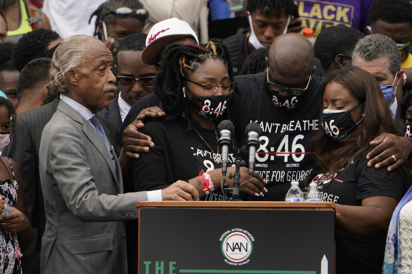 Bridgett Floyd, sister of George Floyd and Philonise Floyd, center at the March on Washington, Friday Aug. 28, 2020, at the Lincoln Memorial in Washington. (AP Photo/Jacquelyn Martin, Pool)