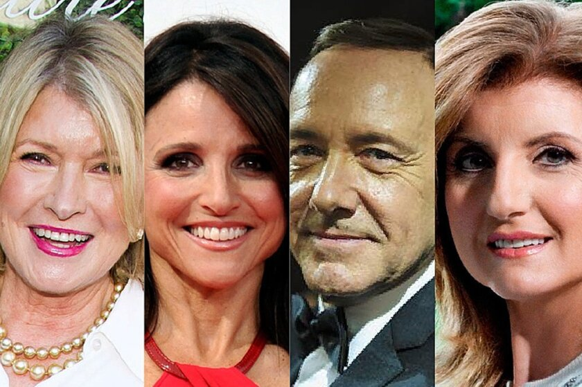 Martha Stewart, Julia Louis-Dreyfus, Kevin Spacey and Arianna Huffington