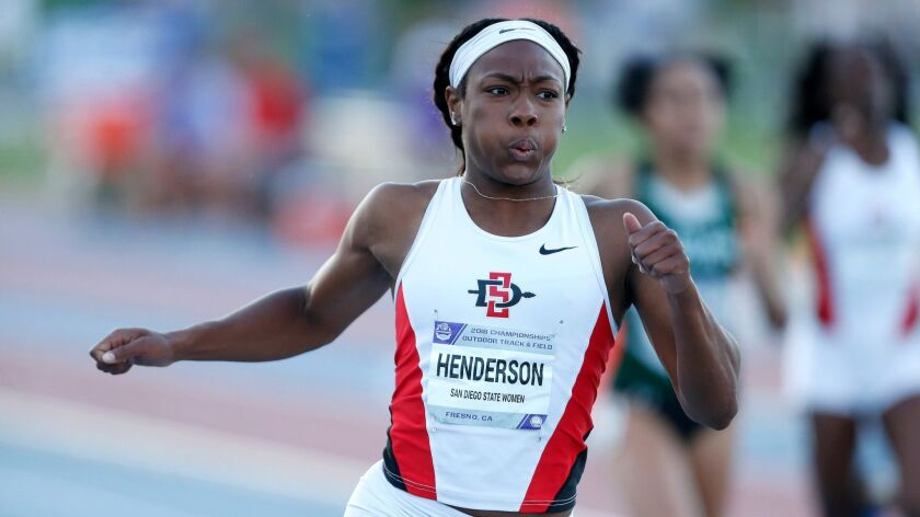 SDSU's Ashley Henderson, shown here at the Mountain West championships, finished sixth in the NCAA 200 meters on Saturday.