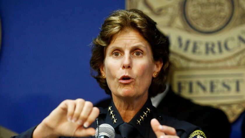 FILE - In this Sept. 9, 2015 file photo, San Diego Police Chief Shelley Zimmerman talks about the re