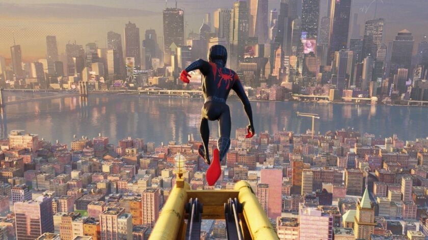 "This image released by Sony Pictures Animations shows a scene from ""Spider-Man: Into the Spider-Vers"