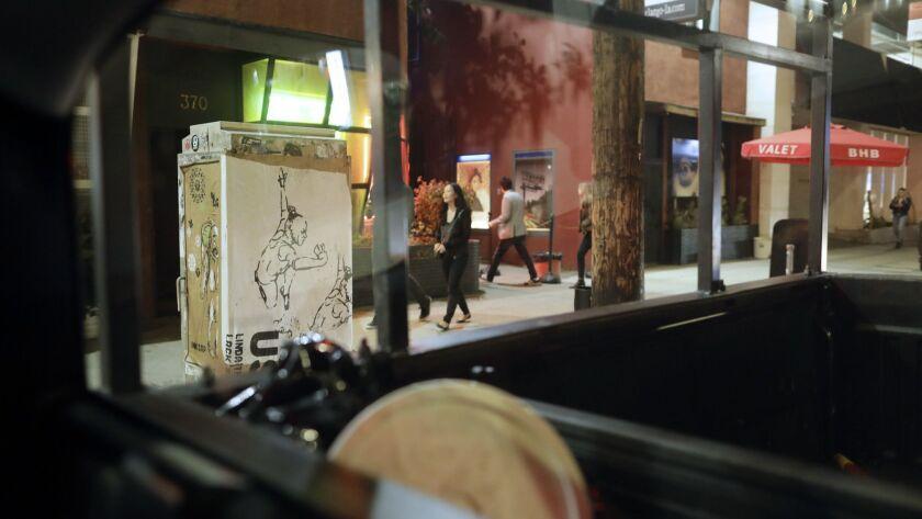 LOS ANGELES, CA -- MARCH 08, 2018: An Inksap artwork covers a utility box on La Cienega Boulevard ne