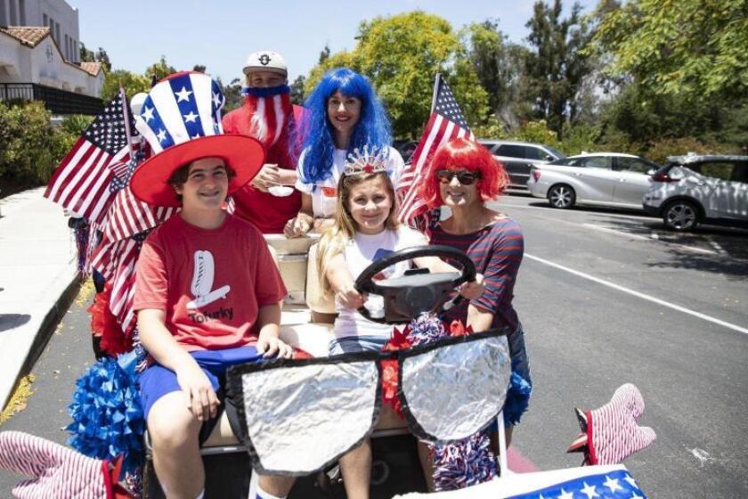 A family float in Rancho Santa Fe's 4th of July parade in 2019.