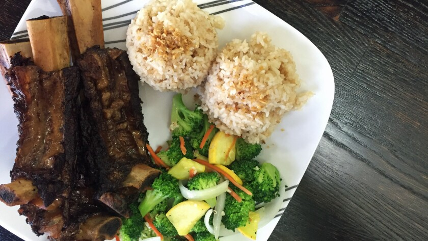 Tadyang beef ribs and garlic fried rice at Eagle Rock Kitchen in Eagle Rock.