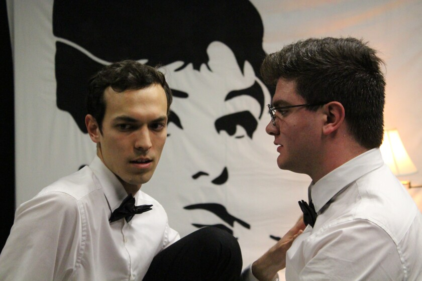 """Connor Berkompas (left) and Sympathie the Clown in """"The Maids."""""""