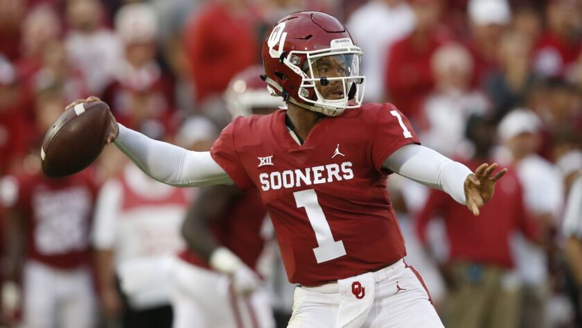 Oklahoma quarterback Kyler Murray (1) throws in the first half against Army, in Norman, Okla. on Sept. 22, 2018.
