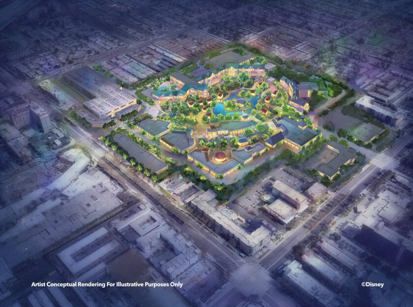"""This """"Eastside"""" rendering shows the possible additions to the Disneyland Resort in an area set aside for parking."""