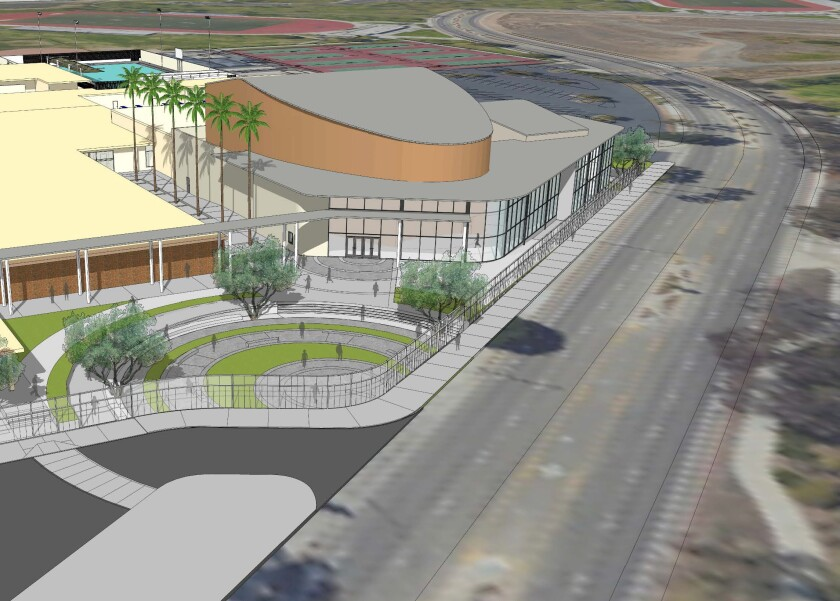 A rendering of a proposed performing arts complex at Estancia High School in Costa Mesa that could be completed by 2023.