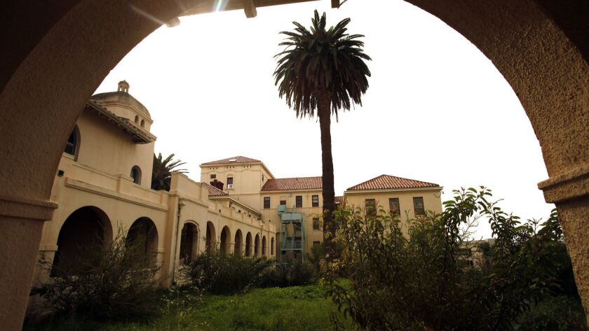 WEST LOS ANGELES, CA - JANUARY 28, 2015 -- Buildings are framed by an archway on the West Los Angele