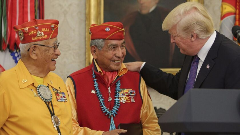 President Trump greets Native American code talkers at the White House.