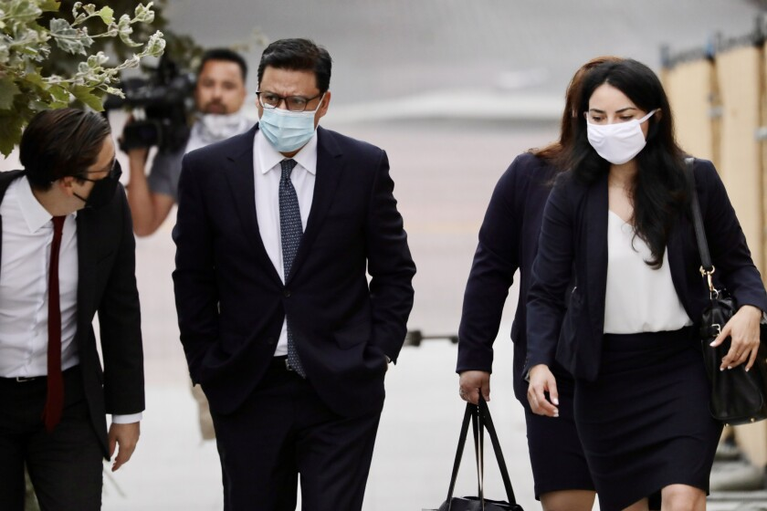 Los Angeles City Councilman Jose Huizar arrives at the federal courthouse in downtown L.A.