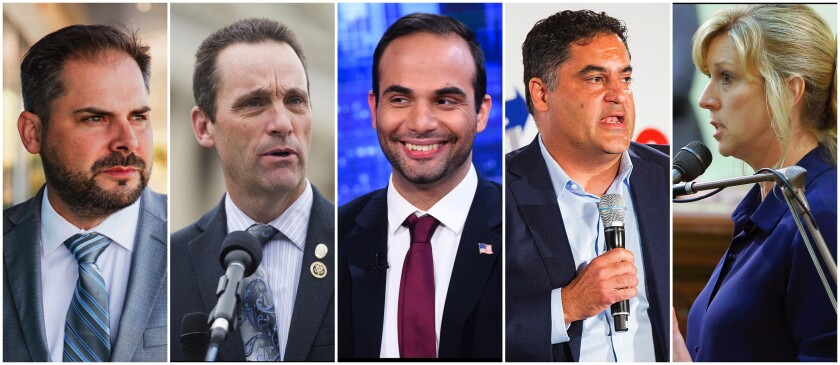 Among those running in the primary for Rep. Katie Hill's former congressional seat in California's 25th Congressional District are from left, Mike Garcia, former Rep. Steve Knight, George Papadopoulos, Cenk Uyger and Assemblywoman Christy Smith.