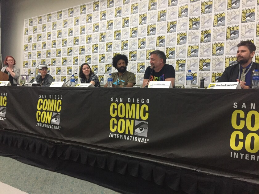 """Participants in the """"Take PRIDE in Comics"""" panel at San Diego Comic-Con 2019 on Friday, from left: Comic Book Legal Defense Fund education director Holly Dotson, comics author Dylan Edwards, comic book shop owner Siena Fallon, author/editor William O. Tyler, colorist Jose Villarubia and CBLDF executive director Charles Brownstein."""
