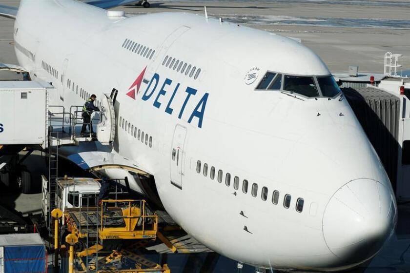 Un avión Boeing 747 de Delta Air Lines está estacionado en el Aeropuerto Internacional de Incheon en Incheon, Corea del Sur, el 19 de diciembre de 2017. EFE/Archivo