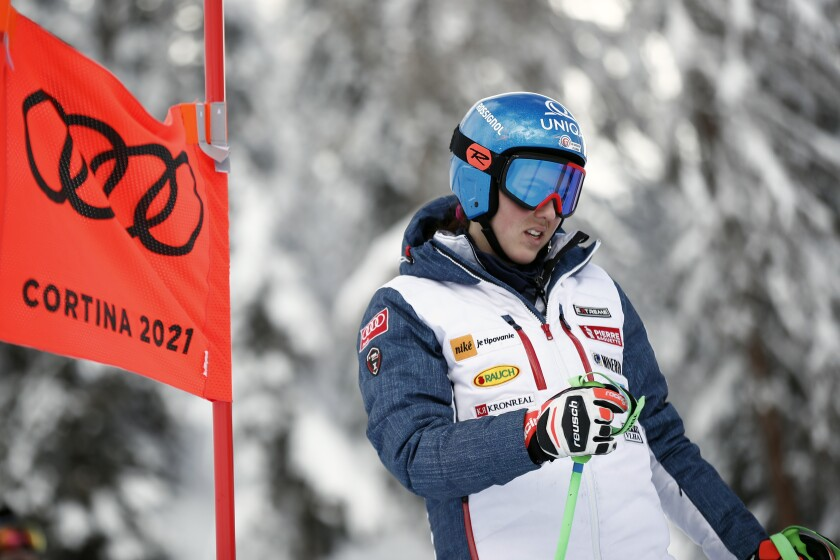 Slovakia's Petra Vlhova inspects the course prior to the women's super-G, at the alpine ski World Championships in Cortina d'Ampezzo, Italy, Tuesday, Feb. 9, 2021. (AP Photo/Gabriele Facciotti)