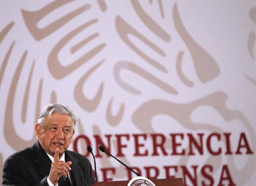 Mexican President Andres Manuel Lopez Obrador speaks during a press conference at the National Palace in Mexico City, Mexico, on Jan. 23, 2019. EPA-EFE/Mario Guzman
