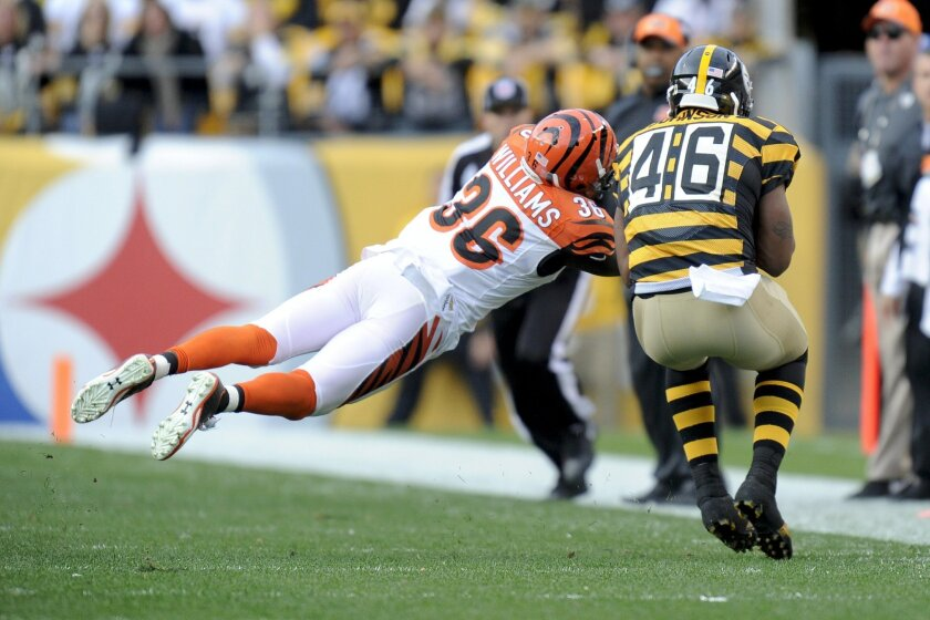 Cincinnati Bengals strong safety Shawn Williams (36) intercepts a pass intended for Pittsburgh Steelers fullback Will Johnson (46) in the second half of an NFL football game, Sunday, Nov. 1, 2015 in Pittsburgh. The  Bengals won 16-10. (AP Photo/Don Wright)
