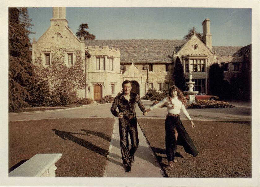Hefner and Barbi Benton at Playboy Mansion in 1970