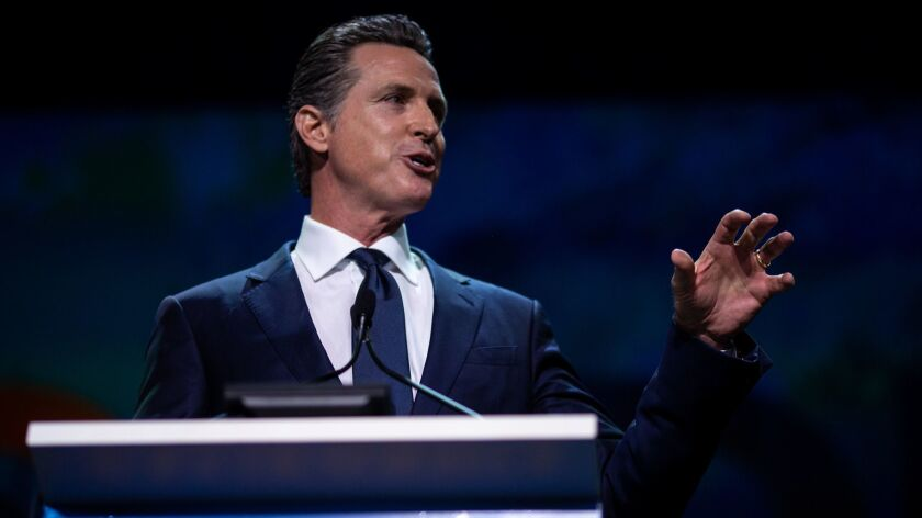 SAN FRANCISCO, CALIF. - JUNE 01: Governor Gavin Newsom addresses the General Session of the 2019 Cal