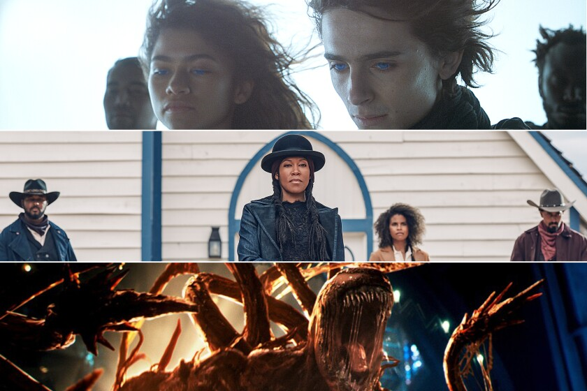 """Scenes from the fall movies """"Dune,"""" top, """"The Harder They Fall"""" and """"Venom: Let There Be Carnage."""""""