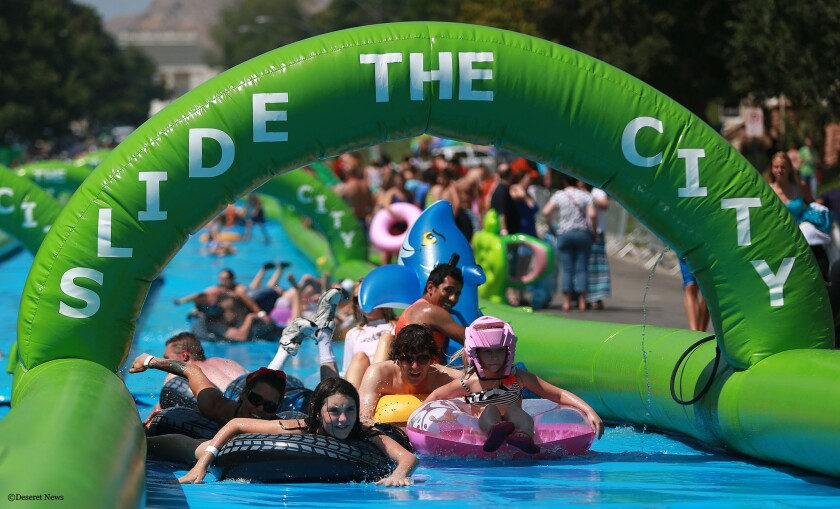 A giant water slide, like this one on Main Street in Salt Lake City, is being proposed for downtown L.A.