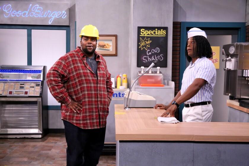 "Kenan Thompson and Kel Mitchell during the ""Good Burger"" skit."