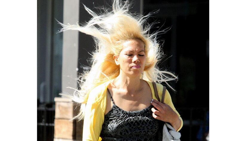 Jackie Sabaoan crosses the street on a windy day in Burbank. Gusts in the 30-to-50 mph range are expected in coastal and inland areas across Southern California on Monday and Tuesday.