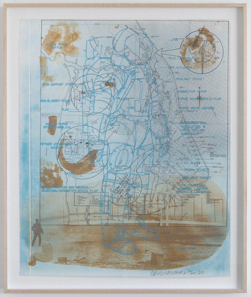 """Trust Zone,"" 1969, a three-color lithograph by Robert Rauschenberg, from the exhibition ""Robert Rauschenberg at Gemini G.E.L.: Selected Works, 1969-2000."""