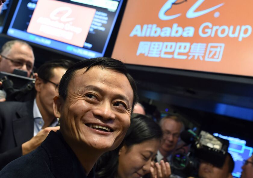 Alibaba founder Jack Ma waits for the trading to open on the floor at the New York Stock Exchange in September 2014.