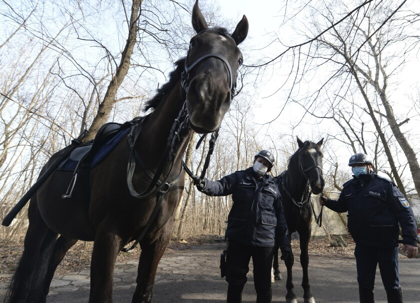 Police in Warsaw walk their horses.