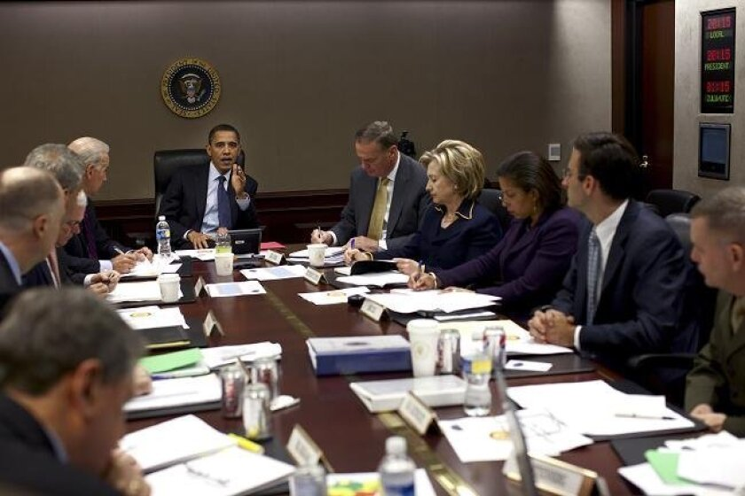In this image released by the White House, President Barack Obama holds meeting on Afghanistan in the Situation Room of the White House, Monday, Nov. 23, 2009. (AP Photo/The White House, Pete Souza)