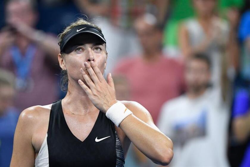 La tenista rusa Maria Sharapova fue registrada este martes al celebrar su victoria sobre la suiza Patty Schnyder, al final de un partido de la primera ronda del Abierto de Tenis de Estados Unidos, en el Centro Nacional de Tenis USTA de Flushing Meadows (Nueva York, EE.UU.). EFE