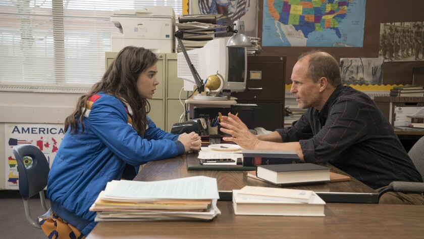 """Hailee Steinfeld and Woody Harrelson in the movie """"The Edge of Seventeen."""""""