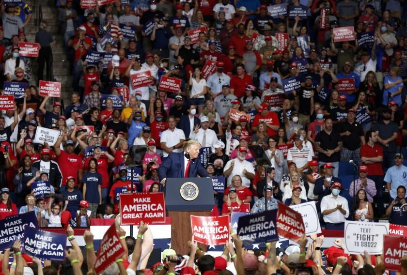 President Trump speaks June 20 at his rally in Tulsa, Okla.